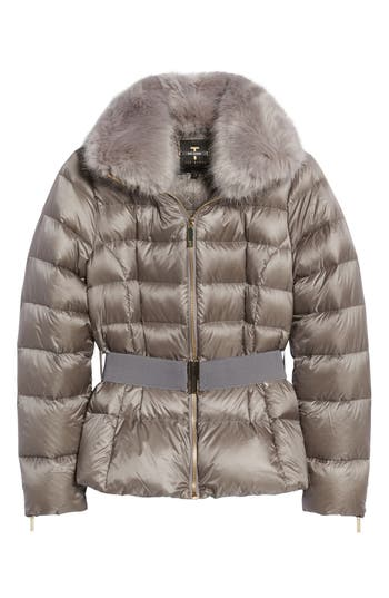 Women's Ted Baker London Puffer Jacket With Faux Fur Collar at NORDSTROM.com