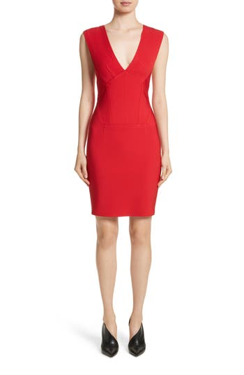 Yigal Azrouel Starlet Off The Shoulder V-Neck Dress, Red