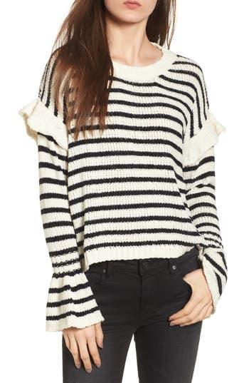 Women's Woven Heart Stripe Ruffle Sweater, Size X-Small - Ivory