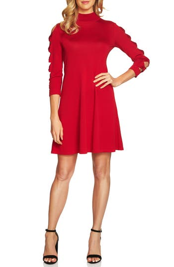 Cece Bow Sleeve Mock Neck Sweater Dress, Red