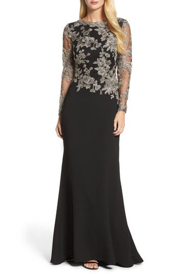 Tadashi Shoji Embroidered Crepe Gown, Black