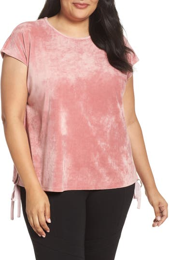 Plus Size Two By Vince Camuto Side Tie Velour Top, Pink