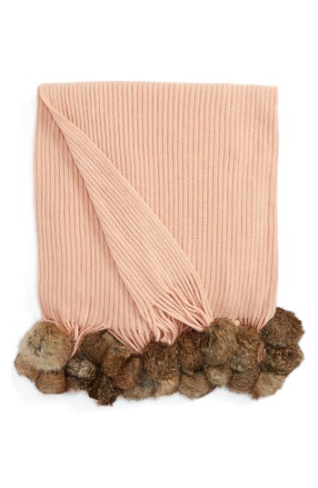 Echo Genuine Rabbit Fur Pompom Rib Knit Throw, Size One Size - Pink