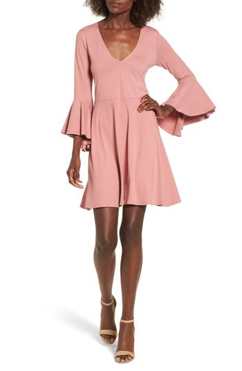 Socialite Bell Sleeve Knit Dress, Pink