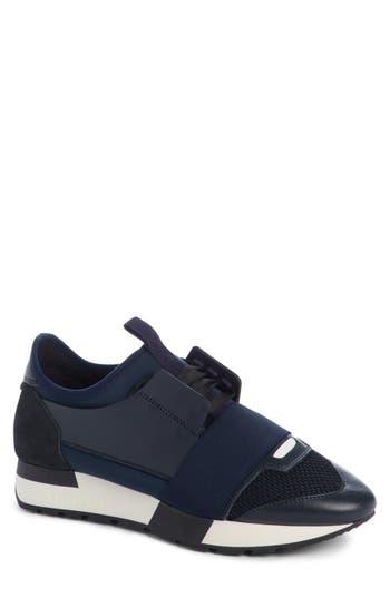 Balenciaga Mixed Media Trainer Sneaker, Blue