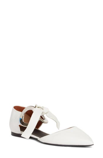 Proenza Schouler Lace-Up Pointy Toe Flat - White
