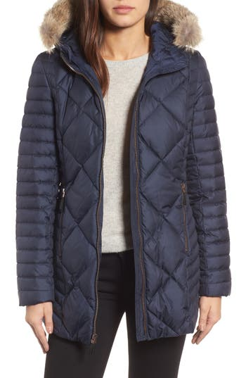 Andrew Marc Hooded Coat With Genuine Coyote Fur Trim, Blue