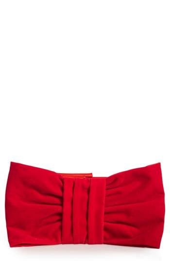 Shiraleah Belen Bow Velvet Clutch - Red