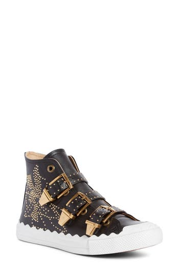 Chloe Kyle Stud Buckle High Top Sneaker, Black