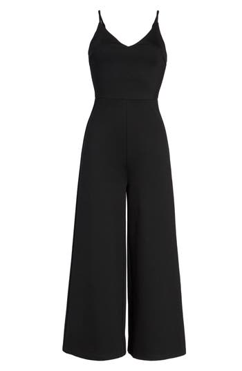 Women's Soprano Ponte Cropped Jumpsuit, Size X-Small - Black
