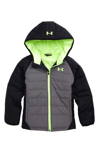 Boys Under Armour Werewolf Water Resistant Coldgear Hooded Puffer Jacket Size 6  Grey