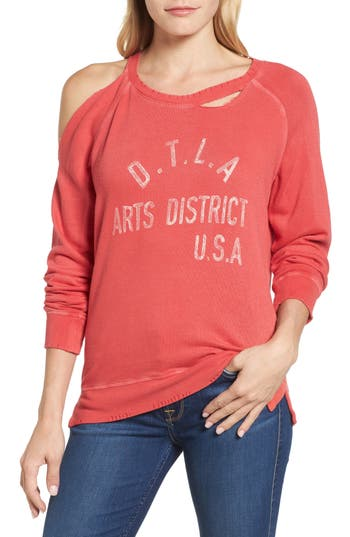 Lucky Brand Distressed Graphic Sweatshirt, Pink