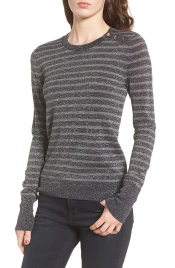 Women's Hinge Sparkle Stripe Sweater, Size X-Small - Grey