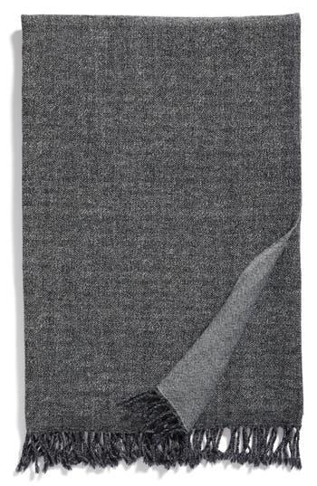 Modern Staples Blurred Herringbone Merino Wool Throw, Size One Size - Grey