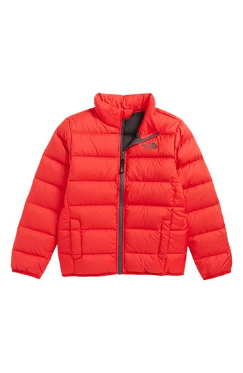 Boys The North Face Andes Water Repellent 550Fill Power Down Jacket Size S (78)  Red
