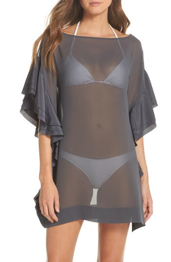 Ted Baker London Ruffle Square Cover-Up Dress, Grey