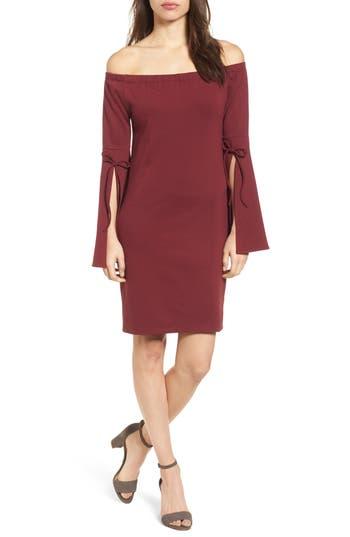 Bobeau Off The Shoulder Sheath Dress, Burgundy