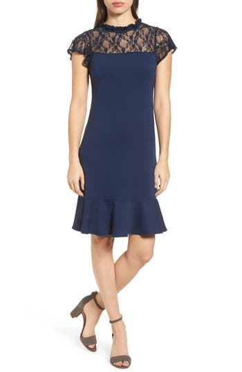 Bobeau Lace Yoke Ruffled A-Line Dress, Blue