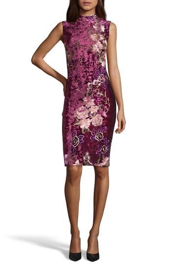 Eci Crushed Velvet Sheath Dress, Burgundy