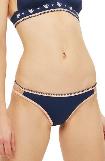 Topshop Stitched Edge Bikini Bottoms, US (fits like 2-4) - Blue
