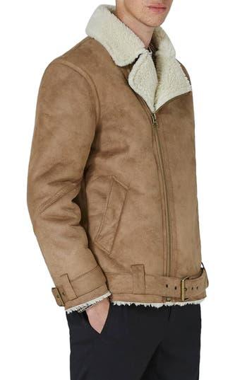 Men's Topman Borg Collar Faux Shearling Jacket, Size Large - Brown