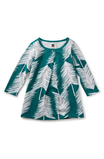 Infant Girl's Tea Collection Winterland Pleated Dress, Size 3-6M - Blue/green