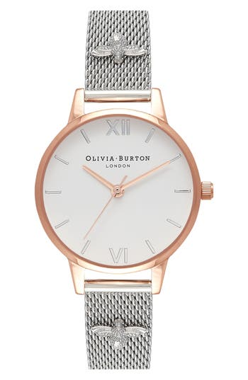 Women's Olivia Burton 3D Bee Mesh Strap Watch, 30Mm