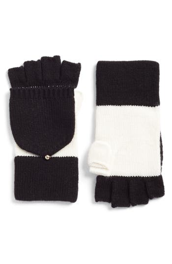 Kate Spade New York Colorblock Pop-Top Mittens, Size One Size - White