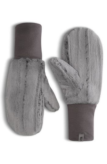 The North Face Furlander Faux Fur Mittens, Grey