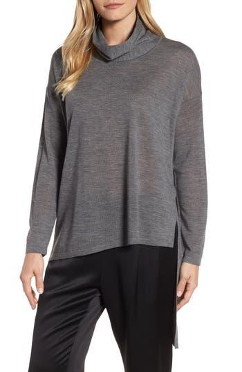 Eileen Fisher Asymmetrical Merino Wool Sweater, Grey