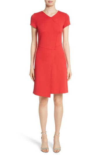 St. John Collection Flap Front Milano Knit Dress, Red