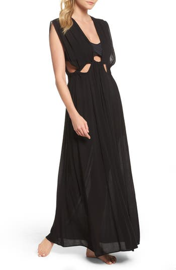 Elan Cutout Maxi Cover-Up Dress, Black