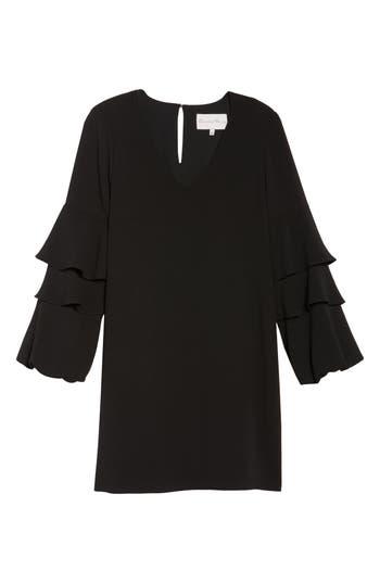 Charles Henry Tiered Ruffle Sleeve Dress, Black