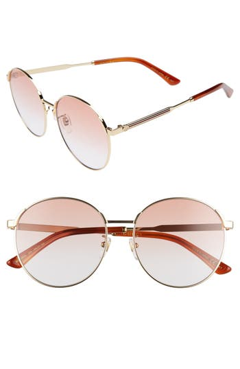 Gucci 5m Round Sunglasses - Gold/ Orange