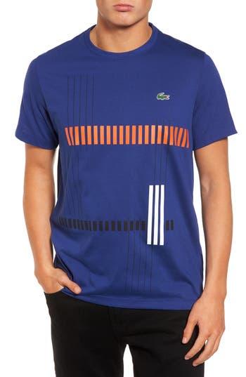 Lacoste Tech Vertical Stripe Graphic T-Shirt, Blue