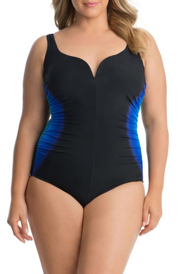 Plus Size Miraclesuit Gulfstream Temptress One-Piece Swimsuit, Black