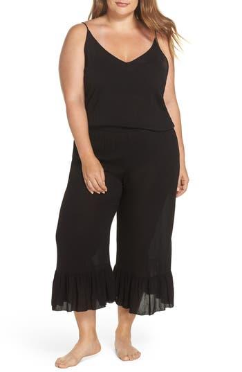 Plus Size Elan Cover-Up Jumpsuit, Black