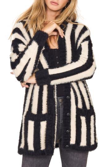 Women's Amuse Society Keep Me Cozy Stripe Sweater, Size X-Small - Black