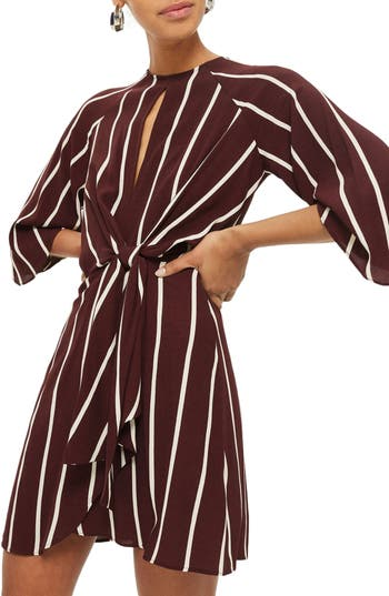 Topshop Stripe Knot Front Minidress, US (fits like 0) - Burgundy