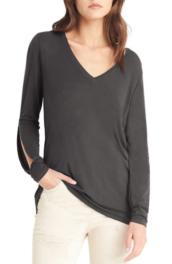 Michael Stars Slit Sleeve Top, Size One Size - Grey