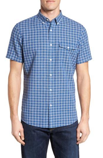 Nordstrom Shop Ivy Trim Fit Check Sport Shirt, Blue