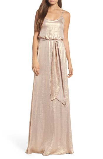 Nouvelle Amsale Crushed Satin Blouson Gown, Metallic
