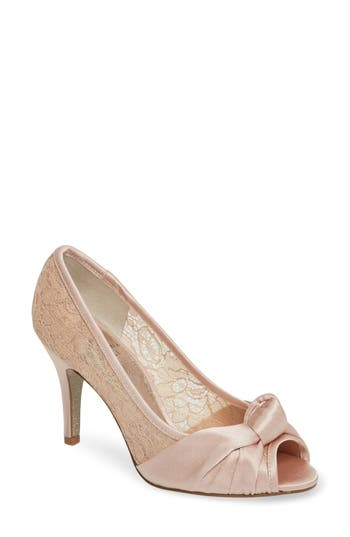 Adrianna Papell Francesca Knotted Peep Toe Pump- Pink
