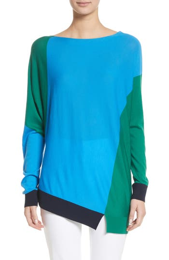 Women's St. John Collection Colorblock Knit Wool Sweater, Size Petite - Blue