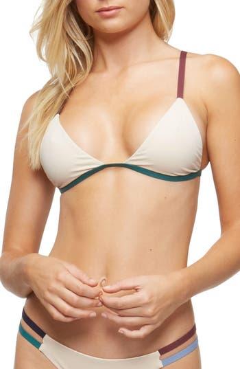 Tavik Zepplin Triangle Bikini Top, Beige