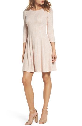 Taylor Dresses Jacquard Knit Fit & Flare Dress, Pink