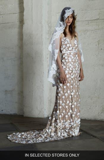 For Love & Lemons Marguerite Floral Petal Gown, Ivory