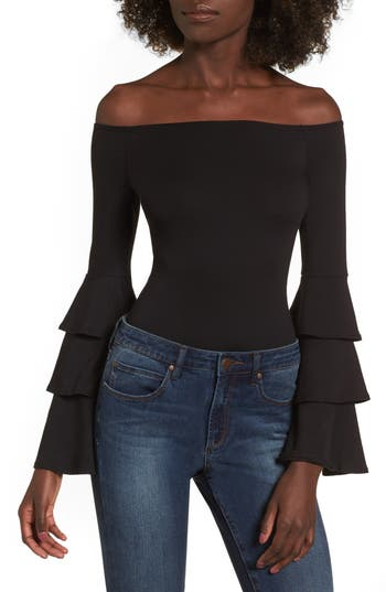 Women's Soprano Ruffle Sleeve Off The Shoulder Bodysuit, Size X-Small - Black
