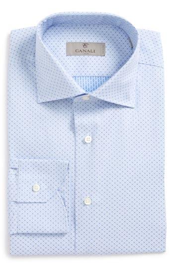 Men's Canali Regular Fit Geometric Dress Shirt, Size 15.5 - Blue