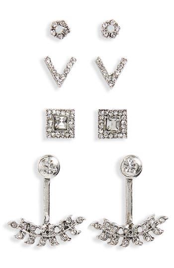 Women's Bp. 4-Pack Crystal Earrings & Ear Cuffs